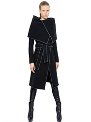 Gareth Pugh Belted Wool Coat With Nappa Leather Trim