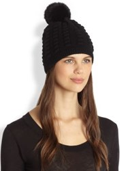 Diane Von Furstenberg Rabbit Fur Pom Pom Wool And Cashmere Beanie Black Velvet