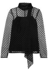 Erdem Yvonna Polka Dot Flocked Tulle Blouse Black