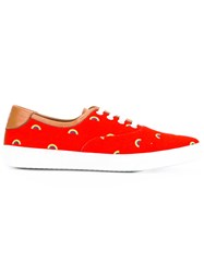 Marc Jacobs Rainbow Patterned Low Top Sneakers Red