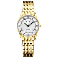 Rotary Lb08303 01 Women's Ultra Slim Bracelet Strap Watch Gold White