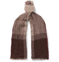 Brunello Cucinelli Checked Washed Linen And Silk Blend Scarf Brown