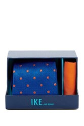 Ike Behar Chevron Dot Silk Tie And Handkerchief Blue