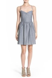 Hinge Chambray Fit And Flare Dress Blue
