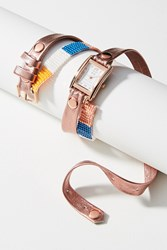 Anthropologie Rose Gold Beaded Wrap Watch Pink