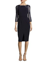 Boatneck Embroidered Sheath Dress Navy