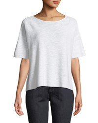 Eileen Fisher Cotton Linen Slub Half Sleeve Box Top White