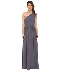 Donna Morgan Rachel One Shoulder Strapless Gown Charcoal Women's Dress Gray