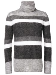Emporio Armani Striped Turtleneck Jumper Grey