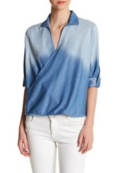 Dee Elle Collared Surplice Blouse Blue