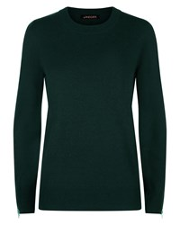 Jaeger Wool Cashmere Zip Cuff Sweater Green