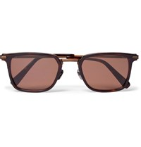 Brioni Square Frame Acetate And Bronze Tone Sunglasses Brown