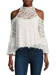 Red Haute Lace Cold Shoulder Top Ivory