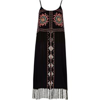 River Island Womens Navy Blue Embroidered Fringe Beach Dress