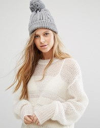 Warehouse Cable Knit Beanie Hat Grey