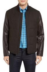 Bugatchi Men's Mixed Media Zip Jacket Chocolate