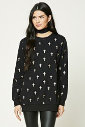 Forever 21 Cross Print Longline Sweatshirt Black Rose Gold