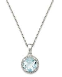 Macy's 14K White Gold Necklace Aquamarine 1 Ct. T.W. And Diamond Accent Pendant Blue