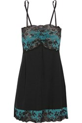 Cosabella Italia Lace Panelled Stretch Satin Jersey Chemise Black