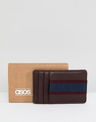 Asos Card Holder In Burgundy And Navy Burgundy Red
