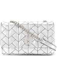 Roberto Cavalli Quilted Effect Shoulder Bag Silver