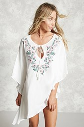 Forever 21 Embroidered Cover Up Kaftan Ivory Multi