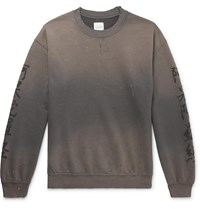 Sasquatchfabrix. Distressed Printed Fleece Back Cotton Blend Jersey Sweatshirt Gray
