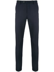 Pt01 Slim Fit Checked Trousers Blue