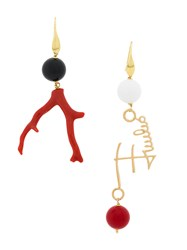 Emilio Pucci Mismatched Earrings White