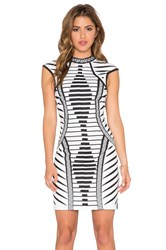 Lumier Law Of Attraction Placemint Print Bodycon Dress Black And White
