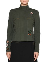 Tomas Maier Patch Jacket Shaped Blouse Olive