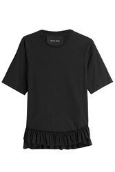 Simone Rocha Cotton Top With Ruffled High Lowhem Black