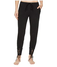 Hard Tail Fitted Sweatpants With Lace Up Cuff Black Women's Casual Pants