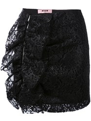 Msgm Lace Ruffle Skirt Women Polyester Spandex Elastane Viscose Polyimide 40 Black