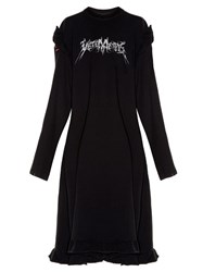 Vetements Ruffled Shoulder Cotton Blend Sweat Dress Black Multi