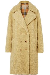 Burberry Oversized Double Breasted Wool Blend Faux Shearling Coat Pastel Yellow