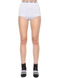 Gcds Logo Band Viscose Knit Mini Shorts White
