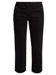 Masscob Frayed Hem Cotton Gabardine Trousers Black