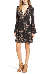 Astr Women's Lace Inset Fit And Flare Dress Black Multi Floral