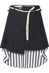 Monse Wool Blend Drill And Striped Voile Mini Skirt Navy