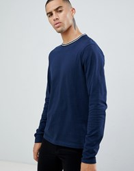 D Struct Toweling Long Sleeve Cotton Single Jersey Top Navy