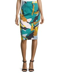 Milly Modern Camo Print Midi Skirt Multi