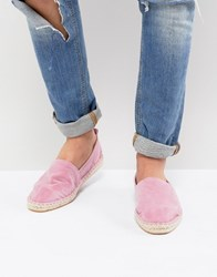 Asos Design Espadrilles In Pink Faux Suede With Back Pull