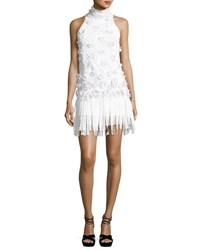 Andrew Gn Fringed Mock Neck Lace Cocktail Dress White
