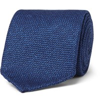Drakes Drake's 8Cm Wool Silk And Cashmere Blend Tie Blue