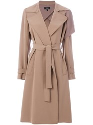 Theory Draped Fitted Coat Women Polyester Polyurethane Acetate S Brown