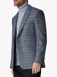 Jaeger Wool Silk Highlight Check Regular Fit Blazer Grey