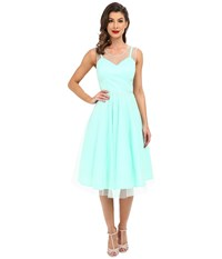 Unique Vintage High Society Mesh Overlay Cocktail Dress Mint Dot Women's Dress Green
