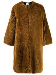 Roseanna Grizzly Alec Faux Fur Coat Brown