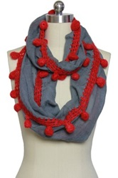 Saachi Grey Red Wool Loop Scarf Multi